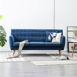 vidaXL 3-Sitzer-Sofa Stoffbezug 172x70x82 cm Blau