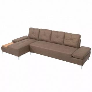 vidaXL Sofa in L-Form mit Ablagefläche aus Holz Stoff Braun XXL 300 cm - Vorschau 5