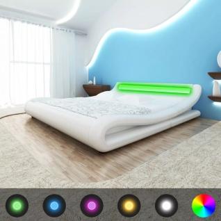 vidaXL Bett mit LED Memory-Matratze Kunstleder 140x200cm Curl weiß