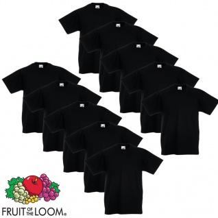 Fruit of the Loom Original Kinder T-Shirt 10 Stk. Schwarz Größe 104