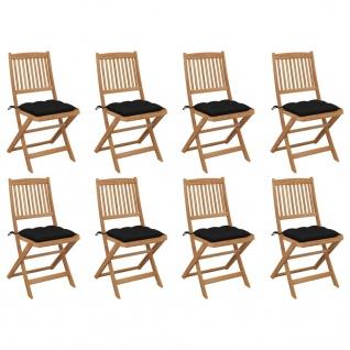vidaXL Klappbare Gartenstühle mit Kissen 8 Stk. Massivholz Akazie