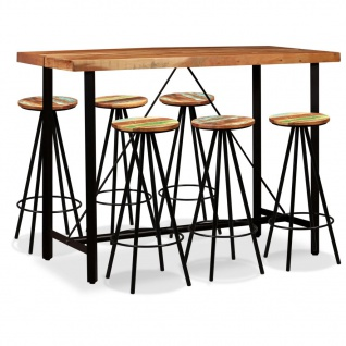 vidaXL Bar-Set 7-tlg. Sheesham-Holz Massiv und Altholz