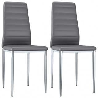 vidaXL Esszimmerstühle 2 Stk. Grau Kunstleder