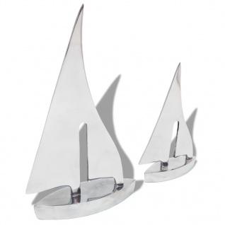 vidaXL Zweiteiliges Segelboot Dekoration Aluminium Silbern