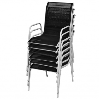 vidaXL Stapelbare Gartenstühle 6 Stk. Stahl und Textiline Schwarz - Vorschau 5