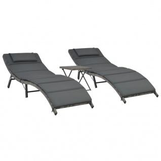 vidaXL 3-tlg. Garten-Lounge-Set Klappbar Poly Rattan Grau