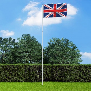 vidaXL Flagge des Vereinigten Königreichs und Mast Aluminium 6 m