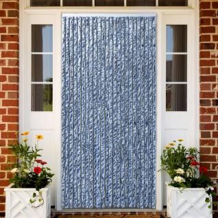 vidaXL Insektenschutz-Vorhang Blau Weiß Silbern 100x220cm Chenille