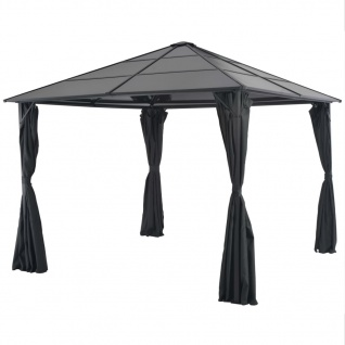 vidaXL Gartenpavillon mit Vorhang Aluminium 3×3 m Schwarz