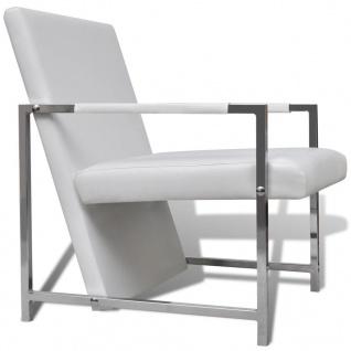 vidaXL Sessel 2 Stk. Verchromtes Gestell Weiß Kunstleder - Vorschau 5