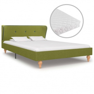 vidaXL Bett mit Matratze Grün Stoff 120 x 200 cm