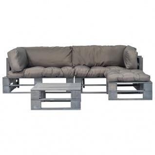 vidaXL 4-tlg. Garten-Lounge-Set Paletten Graue Auflagen Holz - Vorschau 2