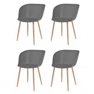 vidaXL Esszimmerstühle 4 Stk. Grau Kunststoffsitz Stahlbeine