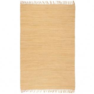 vidaXL Handgewebter Chindi-Teppich Baumwolle 80x160 cm Beige