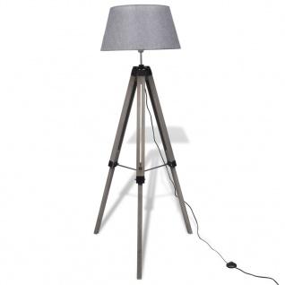 Verstellbare Stativ-Stehlampe aus Holz mit Stoffschirm Grau