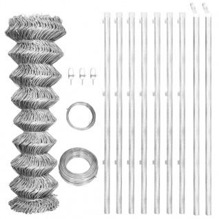 vidaXL Maschendrahtzaun mit Pfosten Verzinkter Stahl 15×1, 25 m Silbern