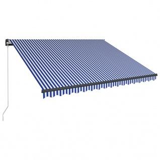 vidaXL Einziehbare Markise Handbetrieben 400 x 300 cm Blau und Weiß