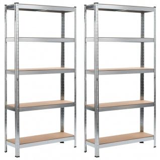 vidaXL Lagerregale 2 Stk. Silbern 90 x 30 x 180 cm Stahl und MDF