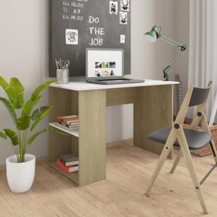 vidaXL Schreibtisch Weiß und Sonoma-Eiche 110x60x73 cm Spanplatte