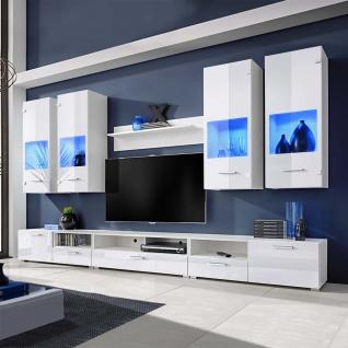 Hochglanz Wohnwand Anbauwand TV-Möbel weiß + blaue LED-Lichter 8-tlg.