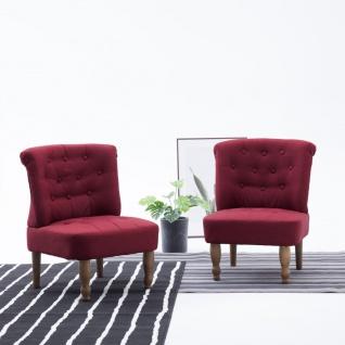 vidaXL Französische Stühle 2 Stk. Weinrot Stoff
