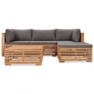 vidaXL 5-tlg. Garten-Lounge-Set mit Auflagen Massivholz Teak