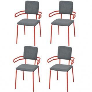vidaXL Esszimmerstuhl/Sessel 4 Stk Rot und Grau