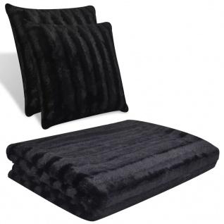 Kuscheldecke aus Kunstfell mit zwei Kissen Schwarz