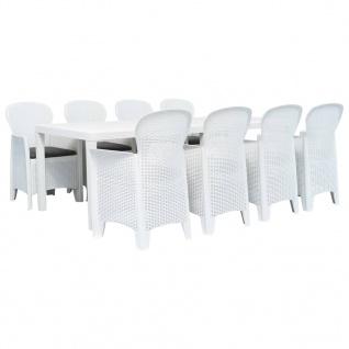 vidaXL 9-tlg. Garten-Essgruppe Kunststoff Weiß Rattan-Optik