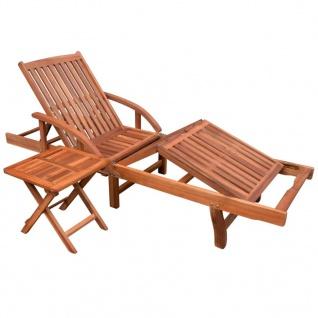 vidaXL Sonnenliege mit Tisch Massivholz Akazie