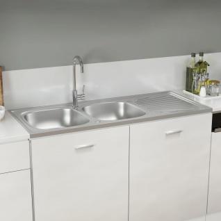 vidaXL Küchenspüle mit Doppelbecken Silbern 1200x600x155 mm Edelstahl