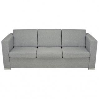 vidaXL 3-Sitzer Sofa Stoff Hellgrau - Vorschau 4
