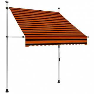 vidaXL Einziehbare Markise Handbetrieben 150 cm Orange und Braun