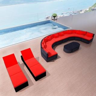 vidaXL 13-tlg. Garten-Lounge-Set mit Auflagen Poly Rattan Rot
