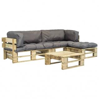 vidaXL 4-tlg. Garten-Lounge-Set Paletten Graue Auflagen Holz