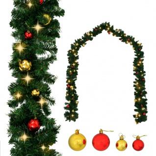vidaXL Weihnachtsgirlande Geschmückt mit Kugeln und LED-Lichtern 10 m