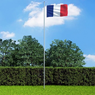 vidaXL Flagge Frankreichs und Mast Aluminium 6, 2 m