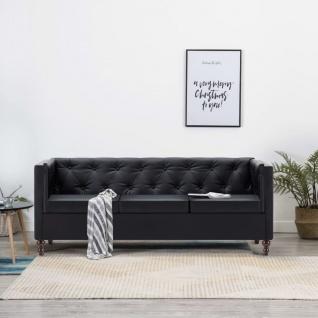 vidaXL Chesterfield-Sofa 3-Sitzer Kunstlederbezug Schwarz