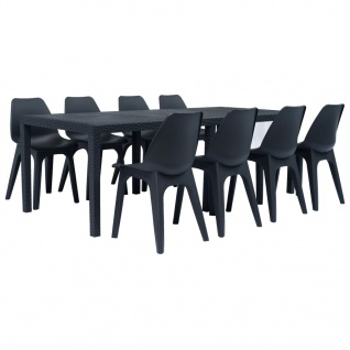 vidaXL 9-tlg. Garten-Essgruppe Kunststoff Anthrazit