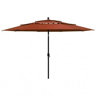 vidaXL Sonnenschirm mit Aluminium-Mast 3-lagig Terracotta-Rot 3, 5 m