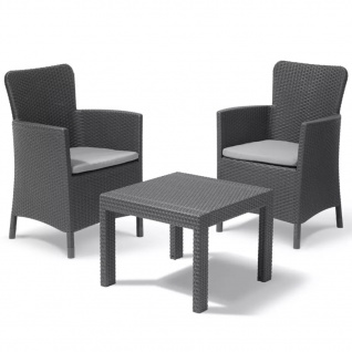 Allibert Garten Balkon Bistro-Set 3-tlg. Salvador Graphitgrau 221307