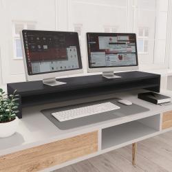 vidaXL Monitorständer Grau 100×24×13 cm Spanplatte