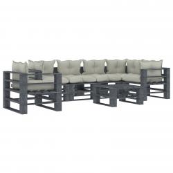 vidaXL 7-tlg. Garten-Lounge-Set Paletten mit Beigen Kissen Holz