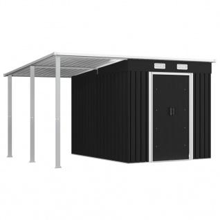 vidaXL Gerätehaus mit Vordach Anthrazit 346×236×181 cm Stahl