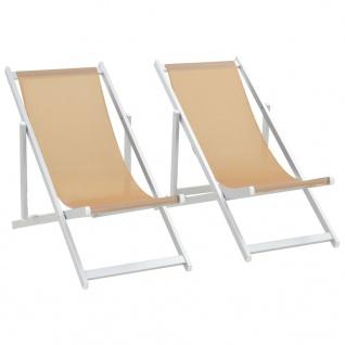 vidaXL Klappbarer Strandstuhl 2 Stk. Aluminium und Textilene Creme