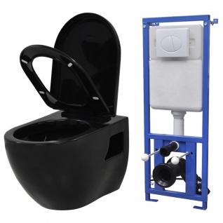 vidaXL Hänge-Toilette mit Einbau-Spülkasten Keramik Schwarz