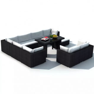 vidaXL 10-tlg. Garten-Lounge-Set mit Auflagen Poly Rattan Schwarz - Vorschau 4
