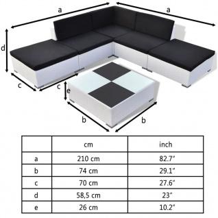 vidaXL 6-tlg. Garten-Lounge-Set mit Auflagen Poly Rattan Weiß - Vorschau 4