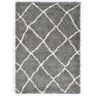 vidaXL Berberteppich Hochflor PP Grau und Beige 140 × 200 cm