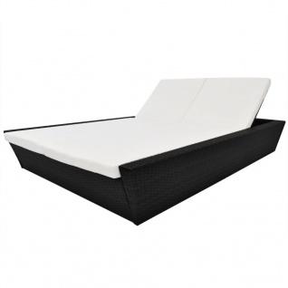 vidaXL Outdoor-Lounge-Bett mit Polster Poly Rattan Schwarz